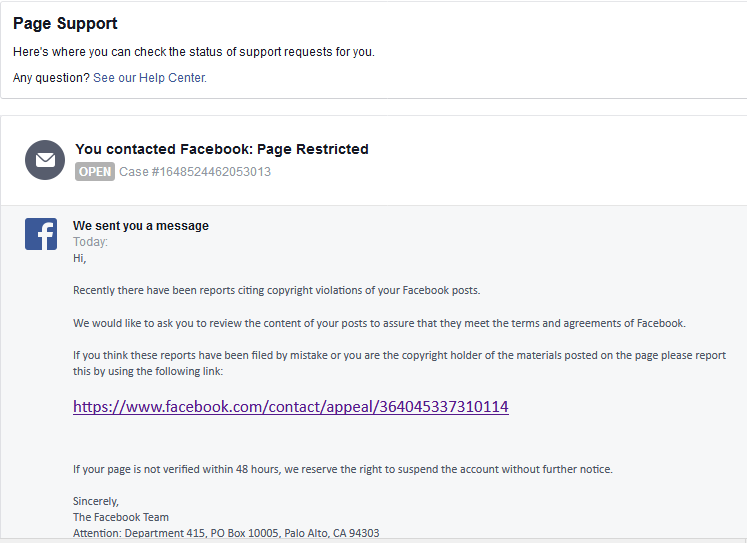 Photo of Facebook Scam: You have been reported for copyright content