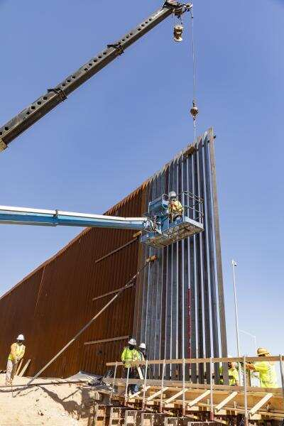 Photo of The First Panels of the Calexico Border Wall Project Installed